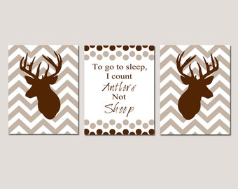 Baby Boy Nursery Decor Trio - Set of Three 8x10 Prints - To Go To Sleep, I Count Antlers Not Sheep Quote, Chevron Deer - CHOOSE YOUR COLORS