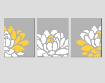 Floral Trio - Set of Three 11x14 Prints - Modern Wall Art - Perfect for Nursery - CHOOSE YOUR COLORS - Shown in Yellow, Gray, White
