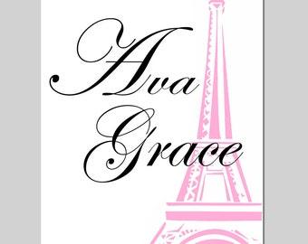 Eiffel Tower Custom Name Paris France Girl Nursery Art Toddler Teen Tween - 8x10 Print - CHOOSE YOUR COLORS