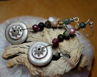 Tourmaline Earrings Tribal Silver Wheel Dangles