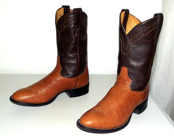 Two tone brown Tony Lama cowboy boots size 8.5 D or womens size 10