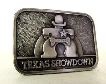 Texas Showdown Silver belt buckle - Cowboy Sheriff - Western wear