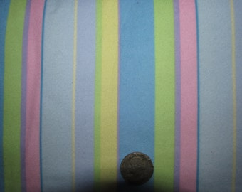 "Precious Moments Cotton Flannel Fabric Children Kids Stripes Coordinate 45"" wide BTY Pink Yellow Purple Blue"