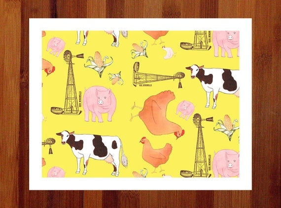 Farm Animals, Nursery Art Print, Yellow Nursery, Kids' Room, Whimsical Print, Girl's Room Art, Boy's Room Art, Nursery Decor, 8.5x11 Giclee