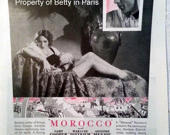 1930 Vintage Movie Ad Morocco Starring Marlene Dietrich Gary Cooper and Adolphe Menjou Paramount Pictures