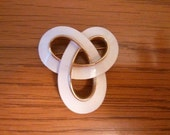 Vintage Signed Crown TRIFARI White Enameled Love Knot / Celtic Knot
