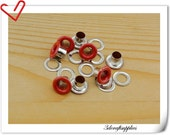 4mm Red Eyelet  grommet  Grommets eyelets 100 sets AC72A