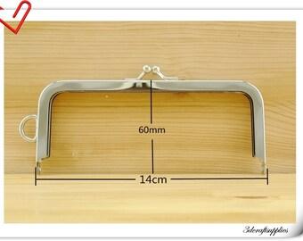 14cm x 6 cm ( 5.5 inch x  2.25  inch ) Nickel sewing purse frame handbag frame bag frame Z50