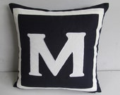 Navy monogram  pillow personalized letter initial pillow cover.  custom made monogrammed pillow 16inch