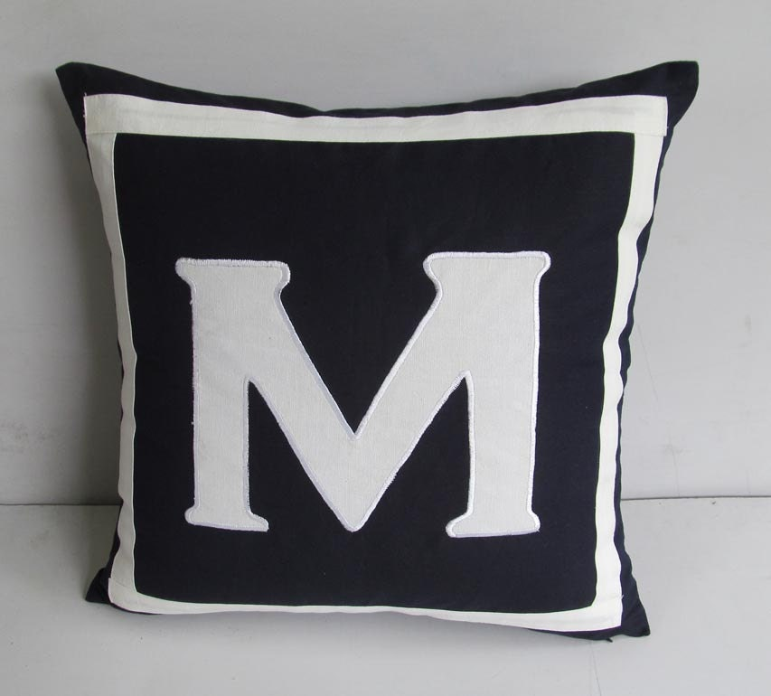 Monogram A Pillow: Navy Monogram Pillow Personalized Letter Initial Pillow