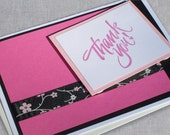 Thank You Card - Pink and Black Thank You - Thank You Greeting Cards - Thank You Note Cards with Ribbon - Handmade Cards
