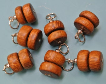 Lot of 20 rare handmade vintage 1970s hard-to-find brownteal wood tube-formed charms/ pendants with metal loops