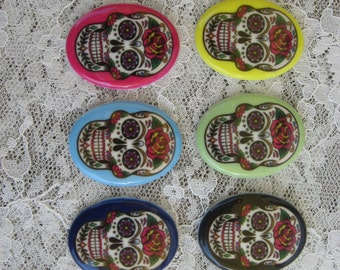 Set of 6 Sugar Skull Cabochon Tattoo Inspired Cabochon Day of the Dead Cabochon Dia De Los Muertos Cabochon 30x40 Unset Cabochon