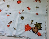Vintage autumn Fall Hanky Handkerchief Leaves Woodland Forest Signed Monique