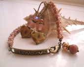 LOVE - Brass and Czech Glass Bracelet with Brass and Lampwork Earrings SET