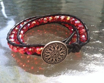 Cherry Red Crystal Double Wrap Bracelet with Silver Button