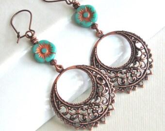Copper Hoop Earrings - Filigree Earrings,  Chandelier, Turquoise Flower Earrings, Long Earrings, Flower Jewelry