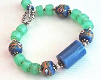 African Trade Bead Bracelet - Sodalite Bracelet, Ethnic Jewelry, Vintage African Beads