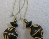 Vintage African Black Carved Wood Bead Earrings ,Black Onyx Abacus Beads, Brass