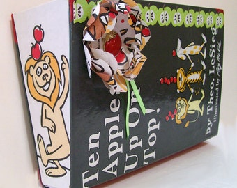 Altered Upcycled Vintage Book Wall Hanging Paper or Mail Holder Dr Suess Ten Apples Up On Top