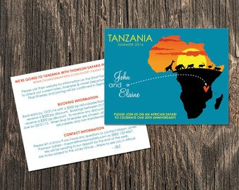 African Safari - Save the Date or Invitation - Destination Wedding or Anniversary