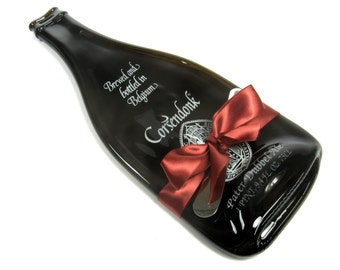 Corsendonk Pater Dubbel Ale Melted Bottle Cheese Tray, Host or Hostess Gift, Serving Tray, Wine and Cheese, Spoon Rest