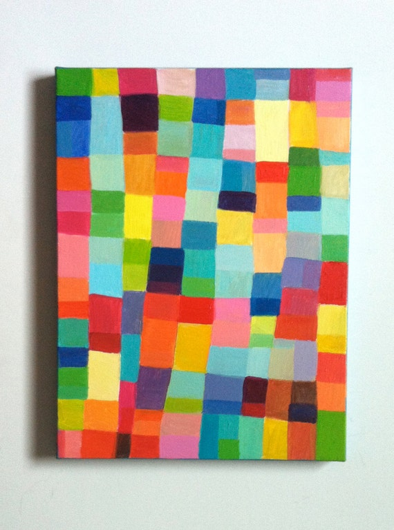 Abstract Painting-ORIGINAL PAINTING/ Geometric shapes/ Colored squares / blue red yellow green pink orange Colors/Home Decor/ Mosaic