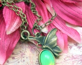 Drop of Absinthe Luna Butterfly Necklace Sweet Little Charmer Vintage Glass Cabochon