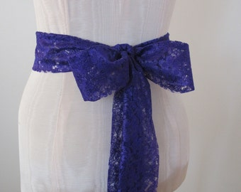 Purple Lace Sash, Wedding Sash, Purple Wedding Sash, Bridesmaid Sashes by ccdoodle on etsy