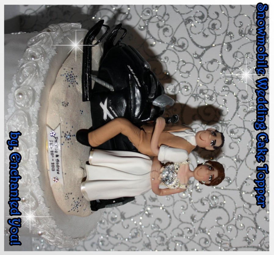 Snowmobile Persoanlized Wedding Cake Topper By