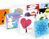 Holidays Note Cards, Seasons, YOUR CHOICE, Mini, Variety, notecard, Thank You, Christmas, Easter,  Halloween, Winter, Spring, Summer, Fall