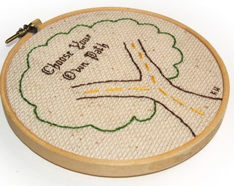 Tree Embroidery Framed in 5-inch Wooden Hoop OOAK (Choose Your Own Path) Tan, Direction, Handmade, Primitive, Needlework, Ready to Ship
