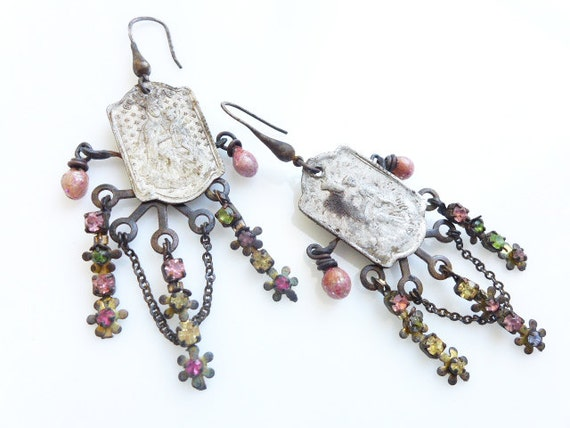 The Sky Full of Signs. Rustic pastel rhinestone assemblage earrings with religious Mary medals.
