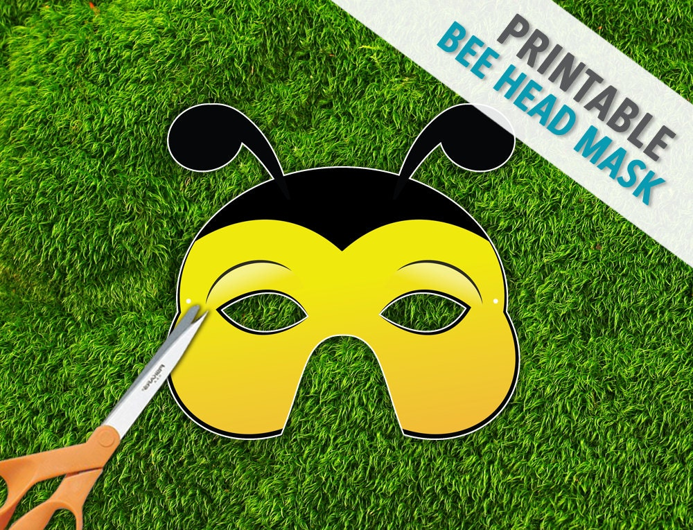 Bee Head Mask Printable Mask Photo Prop Bug Mask by ...