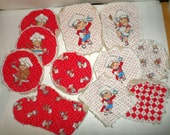 RARE Vintage Campbell's Kids Fabric - Hot Pad Oven Mitt Quilted Fabric - Fabric Cut Outs - Sewing Supply - Oven Mitts Pot Holder Fabric