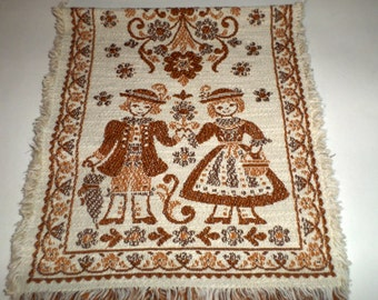 Vintage Table Runner - Boy and Girl in Browns Tapestry Runner - Made in Austria - Vintage Table Linens - Table Runner