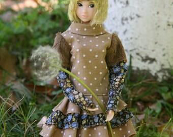 jiajiadoll- camel dots flower teddy feel dress fit momoko or misaki or blythe