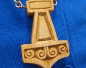 Thor's Hammer Mjolnir pendant carved from Beech