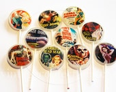 "Cult Classics horror movie 2"" flat edible art Lollipops by Vintage Confections"
