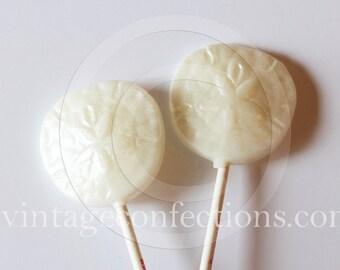 6 piece nautical sand dollar lollipop by Vintage Confections