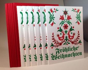 """30 pack German """"Merry Christmas"""" letterpressed cards"""
