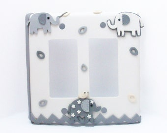 Elephant Light Switch Cover or Outlet Cover - Gray and White - Elephant Nursery  -  Children's - Double Rocker Cover, Double Toggle Cover