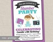 Slumber Party Invitation -  Birthday Party Invite - Sleepover Invitation - brunette girl DIY PRINTABLE Digital File