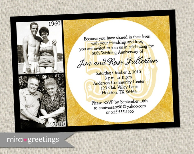50th Golden Anniversary Invitation - Printable Digital File