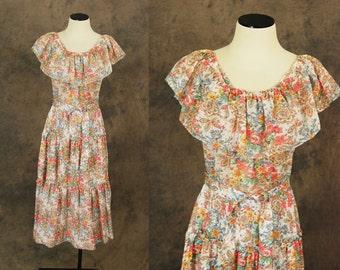 vintage 70s Peasant Dress - 1970s Boho Floral Dress - Sheer Gauze Dress Sz XS