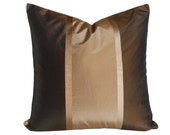 Brown Gold Copper Pillow, Brown Striped Pillow Covers, Metallic Stripes, Dark Brown, Luxury Silk Cushion Covers, 20x20