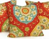 Suzani Pillow Cover, Red Suzani Throw Pillows, SALE, Turquoise Blue, Green,  Bohemian Pillows, 16x16, 18x18, 20x20, 22x22, 26x26
