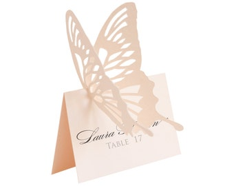 Butterfly Escort Cards - light pink, place card, wedding, shower, baby girl, laser cut, handmade, sweet 16, romantic, lace, blush, seating