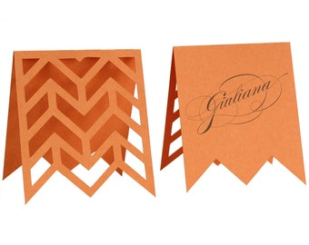 Arrows Escort Cards - orange, tangerine, poppy, papaya, wedding, marriage, herringbone table number, reception, name tag, zig zag, laser cut