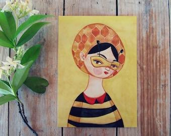 Queen bee postcard honey & yellow girl portrait